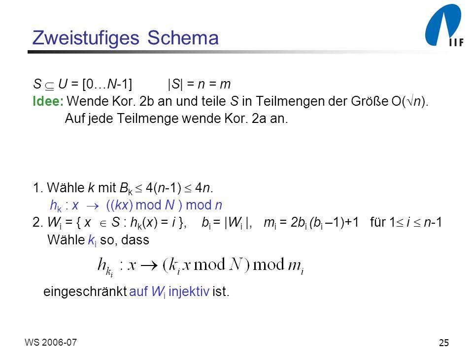 Zweistufiges Schema S  U = [0…N-1] |S| = n = m